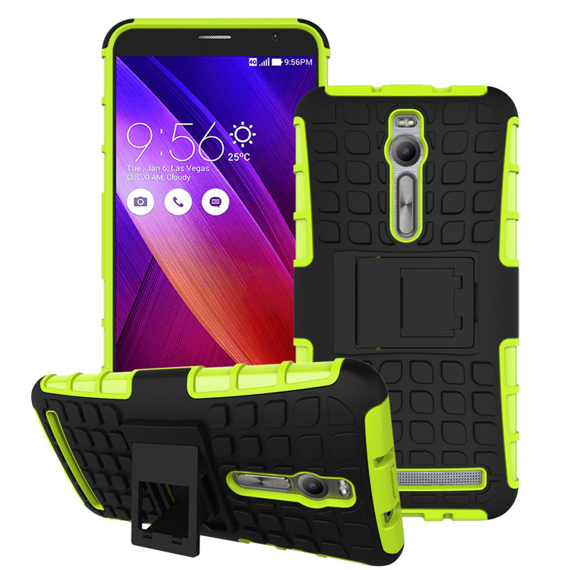 Cheap Wholesale PC&Silicone Back rugged Case with Stand for asus zenfone 2