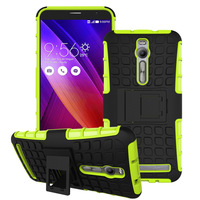 Factory price wholesale PC&Silicone back rugged case with stand for asus zenfone 2