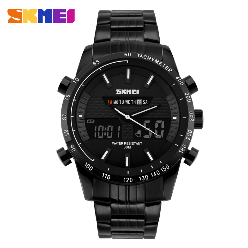 wholes sale skmei 5 BAR water resist black plating metal analog digital watch with instruction manual