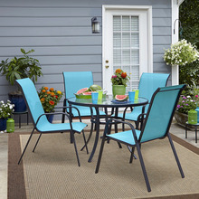 5 Piece sling Patio Dining Set 4 Seater Outdoor Garden Furniture with Glass Topped Table 4 stackable chairs round table