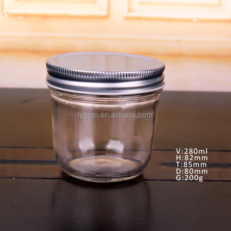 Round 4oz 8oz 12oz 18oz wide mouth glass mason jar with metal lid for jam food storage
