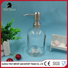 Glass washing hand bottle with stainless steel soap dispenser for wholesale
