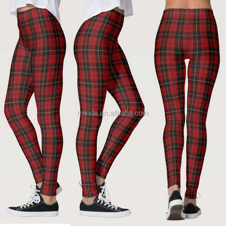 Tartan Plaid Leggings Women's Digital Print Stretchy Ankle Leggings Tights Plus Size Printed Leggings Pants Footless Tights