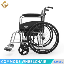 Aluminum commode folding wheelchair with Fixed,PVC Armrest for elder people & disabled