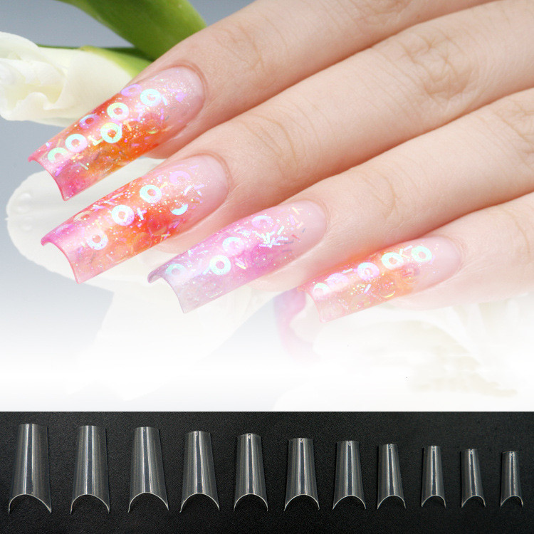 New 500pcs/pack Nail Tips Long Oval personality Designs Quadrate False nails Full Cover Nails Pure  color decorating false nails