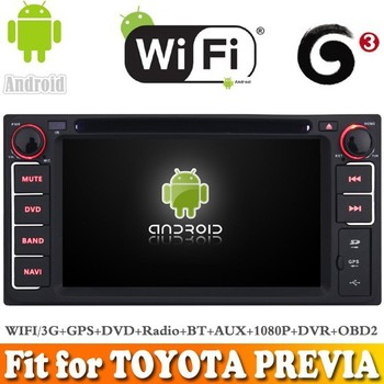 Pure android 4.4 system car dvd radio gps navigation fit for TOYOTA PREVIA WITH CHIPSET WIFI 3G INTERNET DVR OBD2 SUPPORT