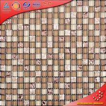 KS97 Beige Crystal Glass White Stone Tile Marble Mosaic Table Marble Mosaic Square Pattern