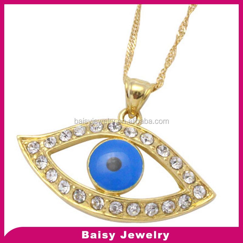 18K gold plated stainless steel muslim turkish evil eye crystal fashion pendant & necklace for women & men