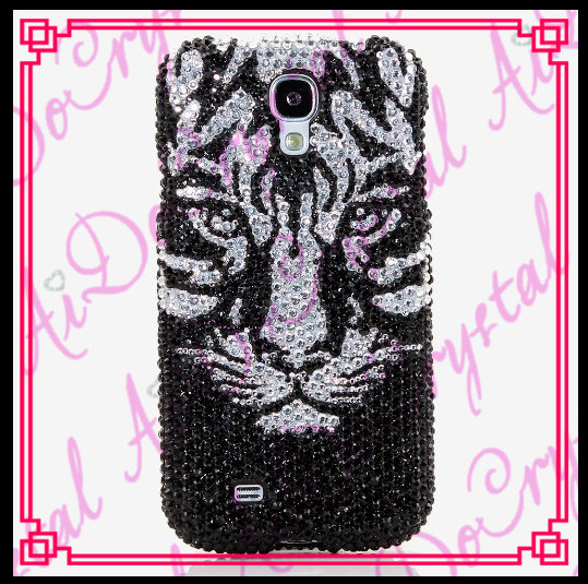 Aidocrystal Bling Black crystal tiger pattern Diamond Cell Phone Back Cover Case For htc Hard Cover