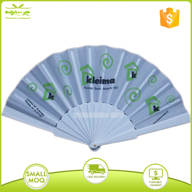 white plastic cotton hand fan with customized design
