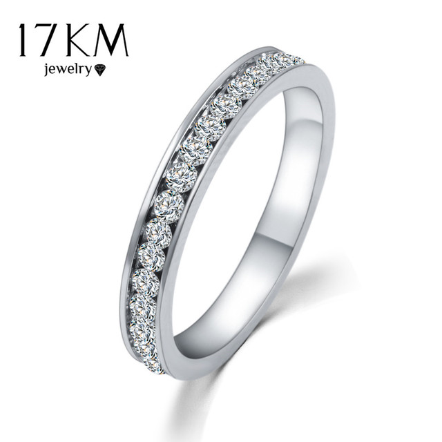 17KM Silver Color Crystal Wedding Rings for Women Titanyum Men Stainless Steel Engagement Ring anillos anel CS12