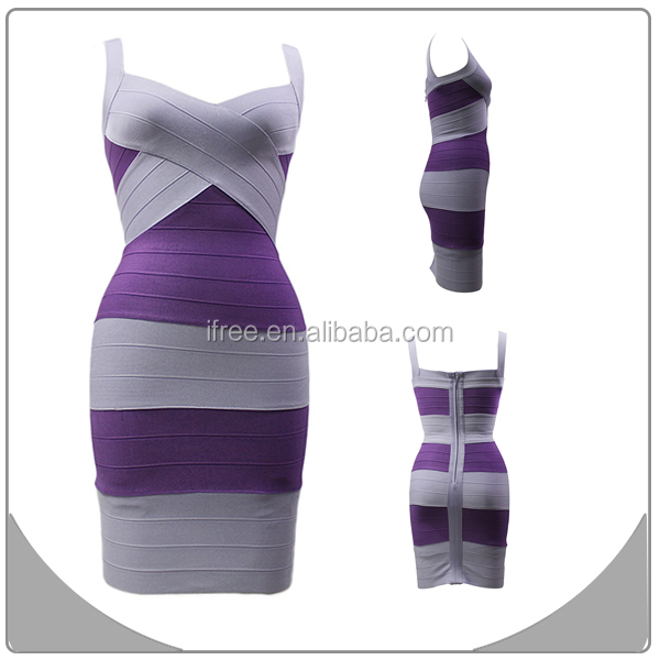 Factory price stripe dress arabic prom dress good quality white and purple bandage dress