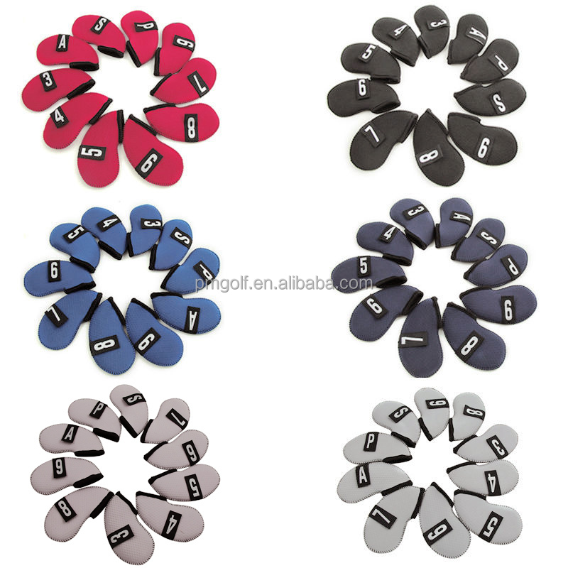 Top quality durable golf head cover for iron, nylon iron cover, iron head cover set 10 pcs