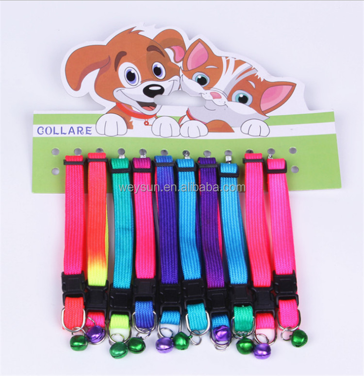 Rainbow Dog Cat Bell Collar Adjustable Outdoor Comfortable Pet Collars For Small Dogs Puppies Pets Collars