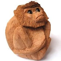 carved Monkeyof a Coconut fruit shipped worldwide from Sri Lanka