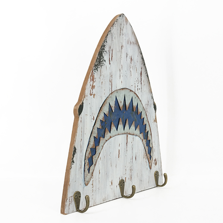 Nautical Shark Design Wall Mounted Wooden Plaque Clothes Metal Hook Hanging Wall
