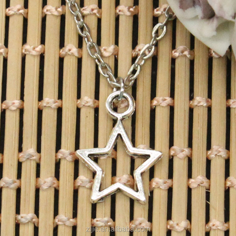 New Arrival Top Quality Fashion Silver Star Pentagram Pendant Choker Necklace With Cross Chain