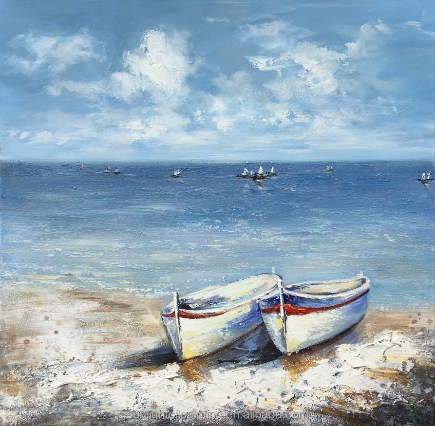 SH223 Hot Handmade New Designer Of Seaside And Fishing Boats Decor Home Wall Art On Canvas For Oil Paintings