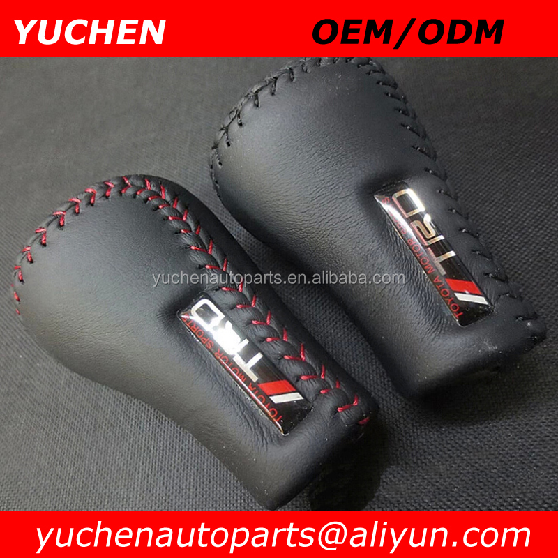 YUCHEN TRD Leather Truck SUV Manual Transmission Car Gear Stick Shift Shifter Lever Knob Cover Red Stitches For Toyota TRD