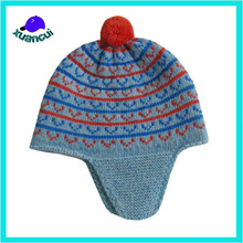 Jamaica Reggae stylish winter pompom beanie earflaps knitted hat wholesale