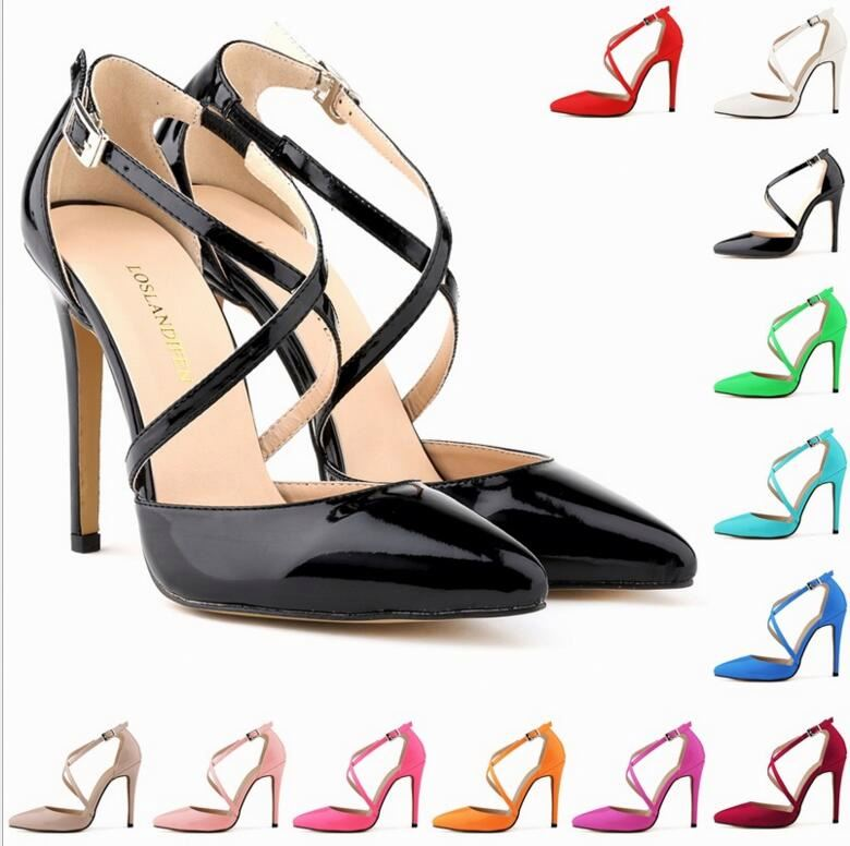 Wholesale customize PU leather pumps sandals high heel pointed toe shoes