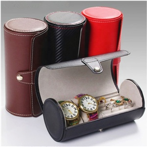 Custom pu leather design watch jewelry roll gift case box for watch