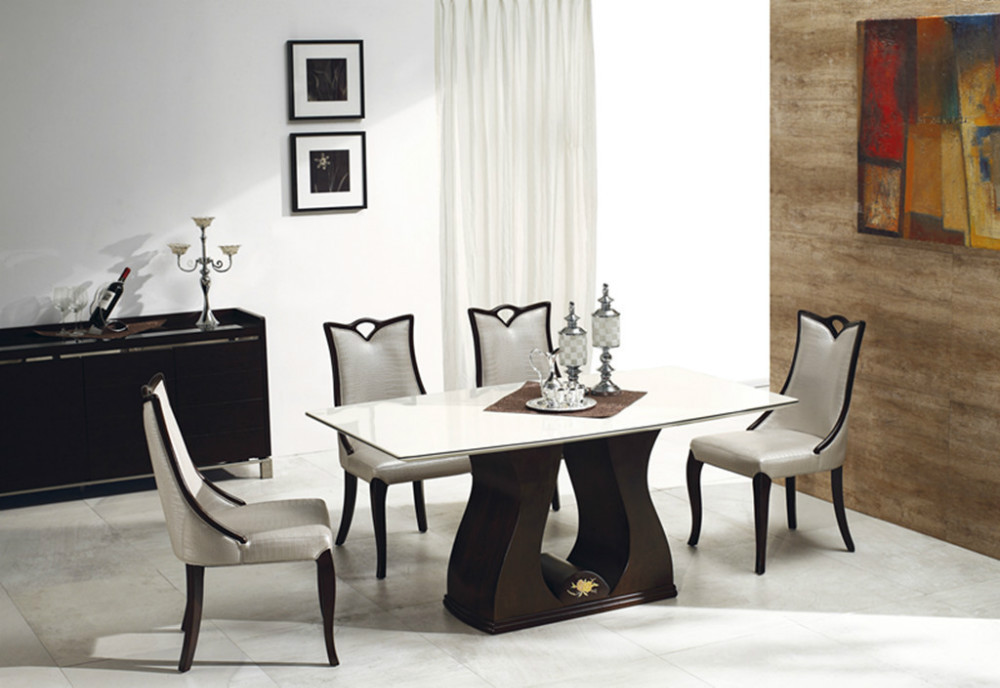 Marble table with PU <strong>leather</strong> with wooden chair dining room furniture