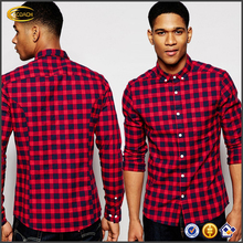 Ecoach wholesale latest shirt designs for men 2016 casual 100%cotton red long sleeve Skinny plaid Check Shirt men shirt