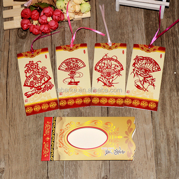 Set of 5 Chinese Paper-cut Art Fan Paper Bookmark Paper Clips