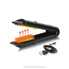 Travel Battery Charge Mini USB Cordless Hair Straightener With Comb