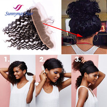 Sunnymay Supplies 100% Human Hair Nape Closure Deep Wave Brazilian Virgin Hair Nape Full lace Frontal Closure With Baby Hair