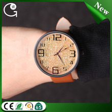 2016 Hot Promotional Fashion Woman Watches PU Leather Ladies Watch With Big Numbers