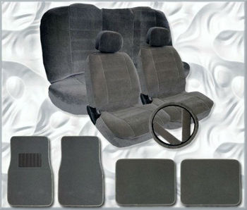 Universal Size Car Seat Covers with Car Floor Mats Steering Wheel Cover and Seat Belt Cover Set