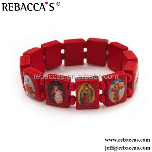 Rebaccas holy wood cord bracelet with religious picture