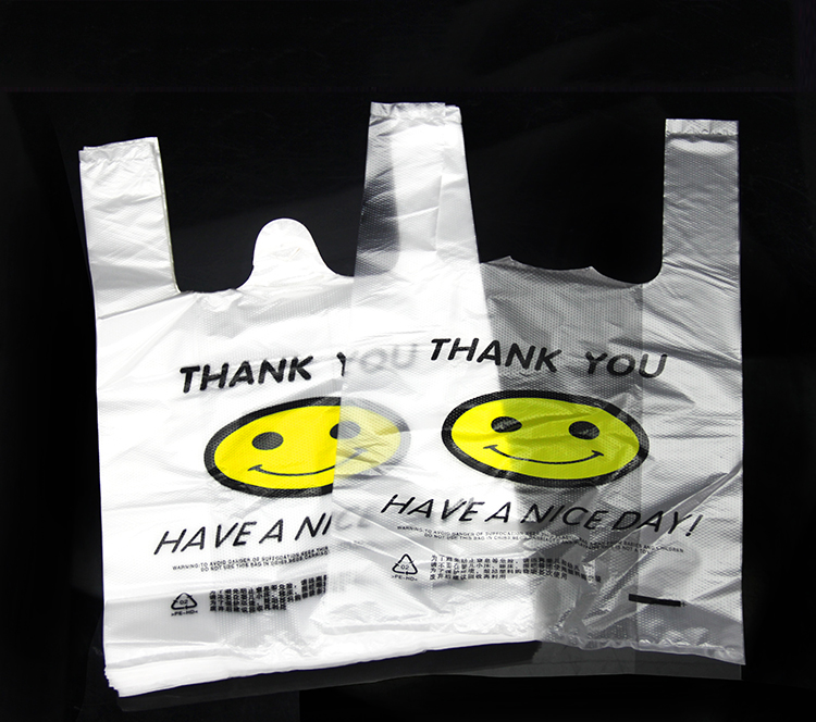 Recyclable Material Printed Plastic Shopping Vest Handle bag Plastic Bag For Packing