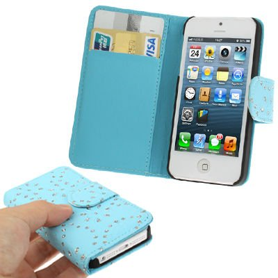 Diamond Flower Texture Flip Leather Case for iPhone 5