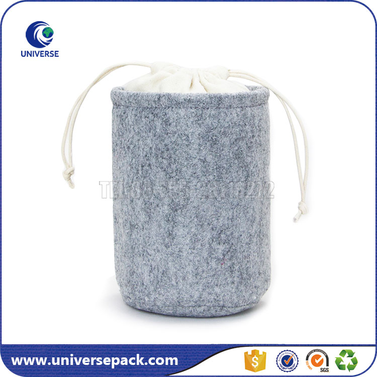 Cute Grey Drawstring Felt Round Bottom Bag For Glasses Cup