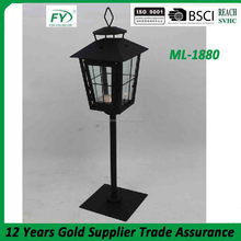 Outdoor and cemetery decoration metal candle lantern stand with glass panels ML-1880