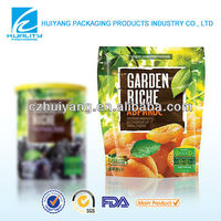 Top quality plastic self-standing food packaging bag for preserved fruit