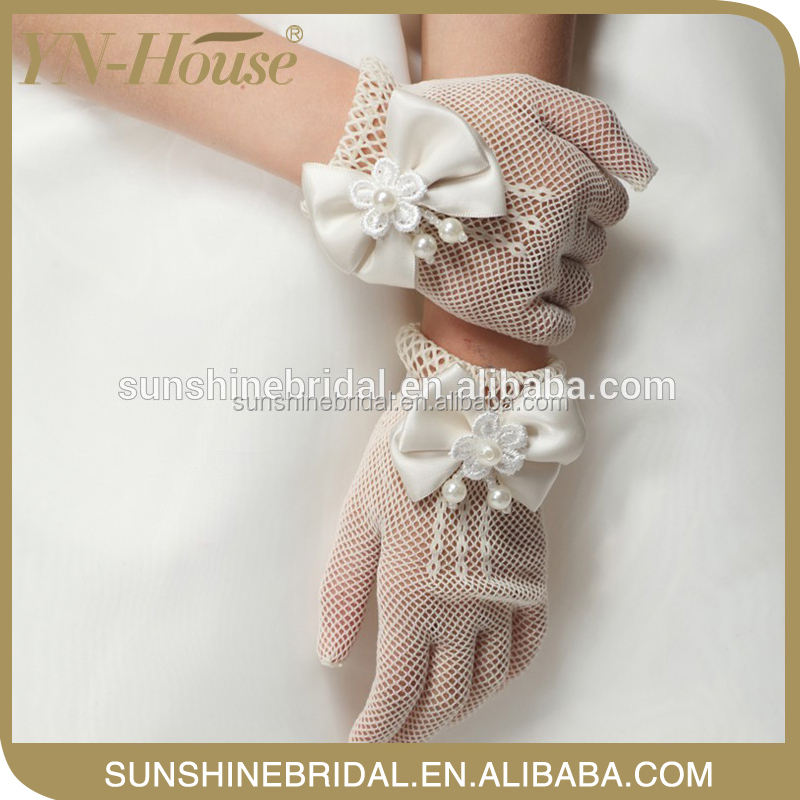 Wedding summer driving Short flower lace gloves with Laciness