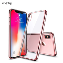 CTUNES Crystal Transparent Clear Flexible Plating Soft Gel TPU Back Cover Shell Skin Case For Apple iPhoneX 5.8""