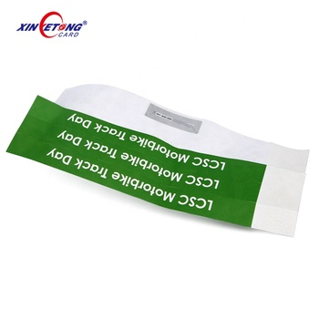 HF Waterproof Disposable Durable Paper RFID Wristband For Event Ticket