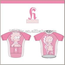 custom professional Cartoon sublimated printing bicycle jersey for girl or women cycling top
