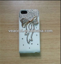 Bow Diamond Flip Leather Case Cover For Iphone 5C