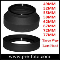 3 in 1 Fuction Lens Hood 3 Stage Rubber Lens Hood For Digital Film Camera