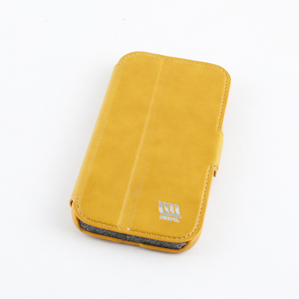 Yellow 3 Fold Pu Flip Case For Samsung S4 Cellphone Cover