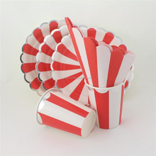 Tableware Stripe & Gold Paper Cups Plates Napkins First Birthday Baby Shower Carnival Moments Decoration