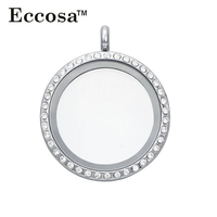 Fashion Circle Crystal Photo Pendant 316L Stainless Steel Clear Glass Living Memory Floating Charm Locket