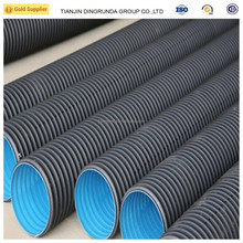 Black plastic drain pipe 100mm hdpe double wall corrugated pipe for sale
