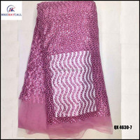 Baby pink shinny sequins tulle lace for women dress lace of QX4630-7
